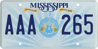 MS license plate AAA265