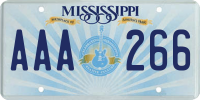 MS license plate AAA266