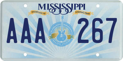 MS license plate AAA267