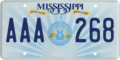 MS license plate AAA268