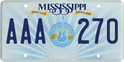 MS license plate AAA270