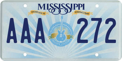 MS license plate AAA272