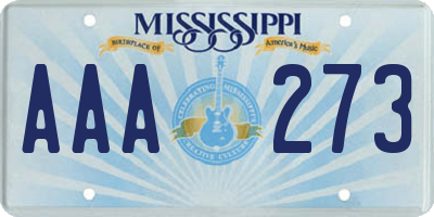 MS license plate AAA273