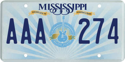 MS license plate AAA274