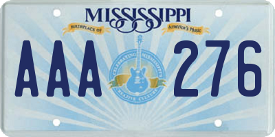 MS license plate AAA276