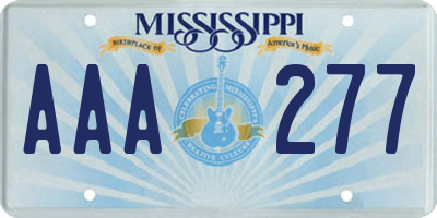 MS license plate AAA277
