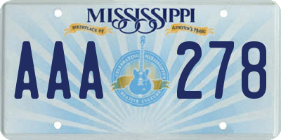 MS license plate AAA278