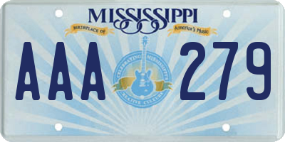 MS license plate AAA279