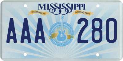 MS license plate AAA280