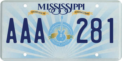 MS license plate AAA281