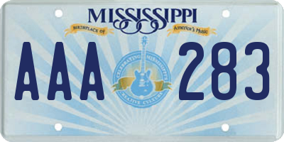 MS license plate AAA283