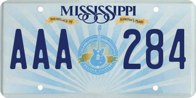 MS license plate AAA284