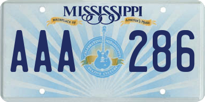 MS license plate AAA286
