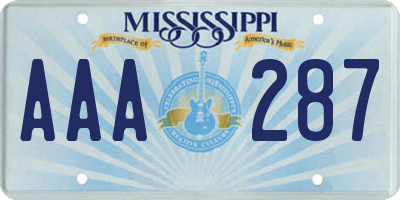 MS license plate AAA287