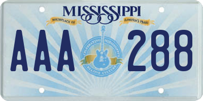 MS license plate AAA288
