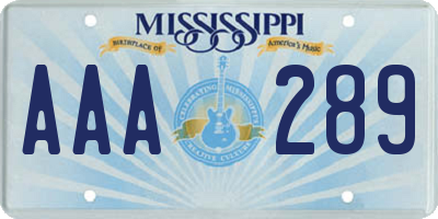 MS license plate AAA289