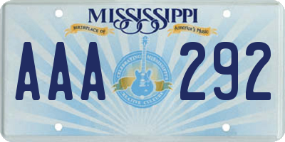 MS license plate AAA292