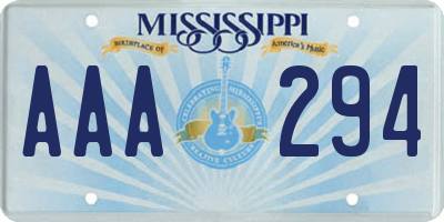 MS license plate AAA294