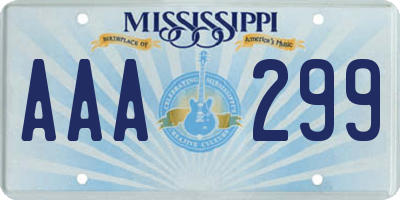 MS license plate AAA299