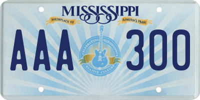 MS license plate AAA300
