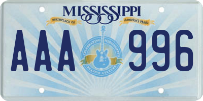 MS license plate AAA996