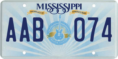 MS license plate AAB074
