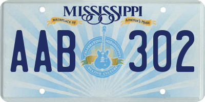 MS license plate AAB302