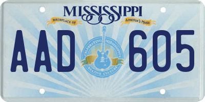 MS license plate AAD605
