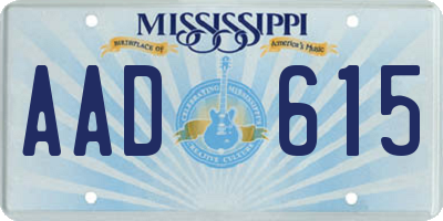 MS license plate AAD615