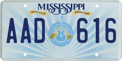 MS license plate AAD616