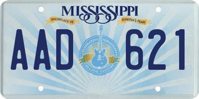 MS license plate AAD621