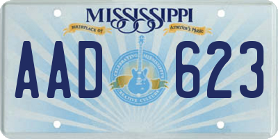 MS license plate AAD623