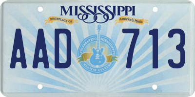 MS license plate AAD713