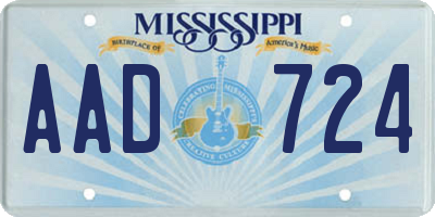 MS license plate AAD724