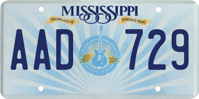 MS license plate AAD729