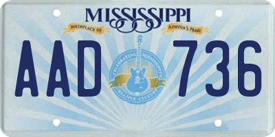 MS license plate AAD736