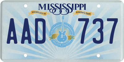 MS license plate AAD737