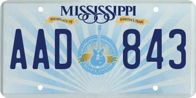 MS license plate AAD843