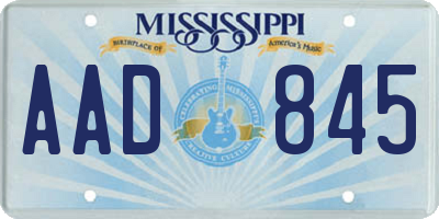MS license plate AAD845
