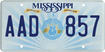 MS license plate AAD857