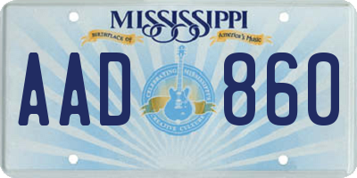 MS license plate AAD860
