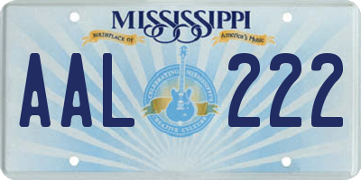 MS license plate AAL222