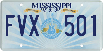 MS license plate FVX501