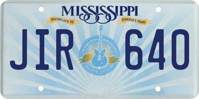 MS license plate JIR640