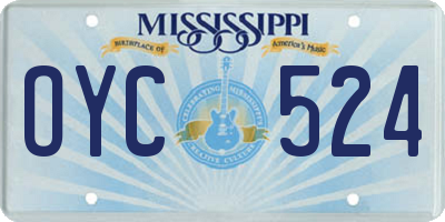 MS license plate OYC524