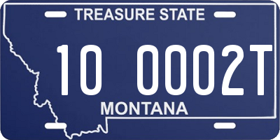 MT license plate 100002T