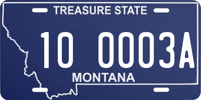 MT license plate 100003A
