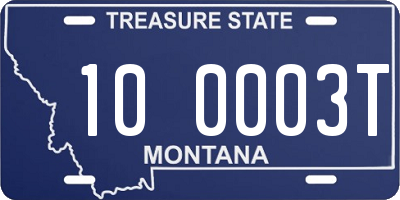 MT license plate 100003T