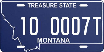 MT license plate 100007T