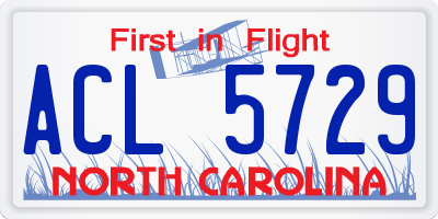 NC license plate ACL5729